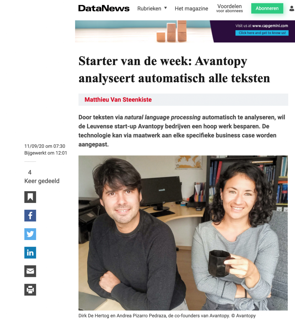 datanews Avantopy starter van de week